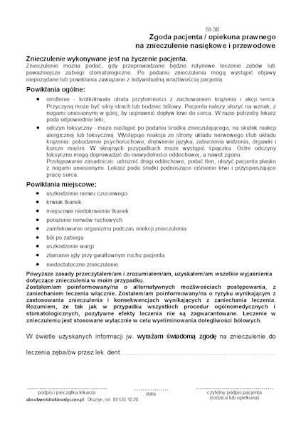 St-38 Zgoda na znieczulenie stomatologiczne A5a/bl.100k