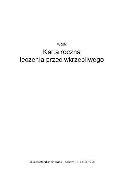 W-282 Karta Roczna Leczenia Przeciwkrzepliwego A6c Zeszyt 16k.