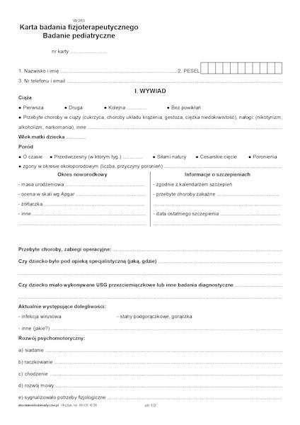 W-283a Karta badania fizjoterapeutycznego. Badanie pediatryczne A4c/bl.100k