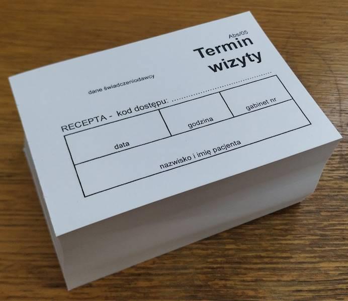 ABS/05 Termin wizyty - kod recepty (białe) A7a/bl.500szt