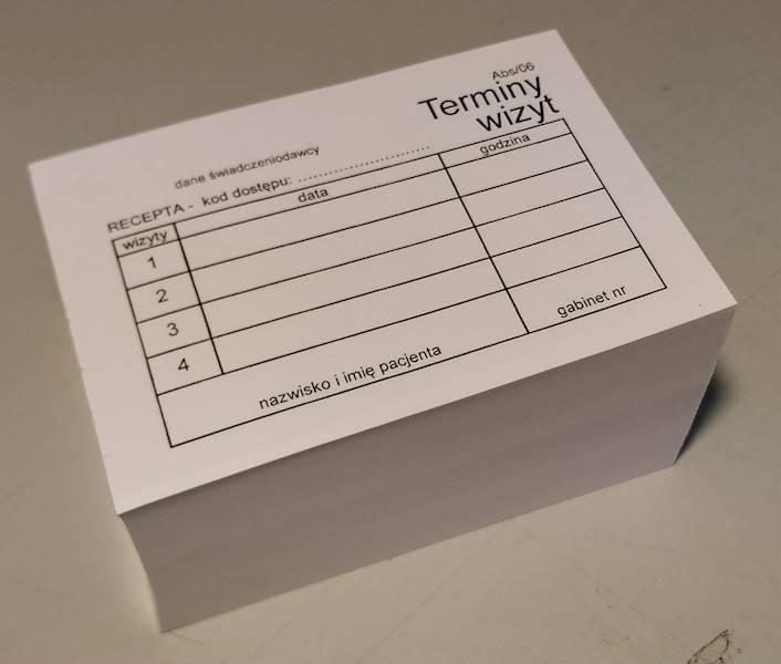 ABS/06 Terminy 4 wizyt - kod recepty (białe) A7a/bl.500szt