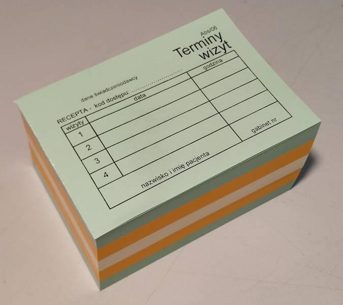 ABS/06a Terminy 4 wizyt - kod recepty (kolor) A7a/bl.500szt