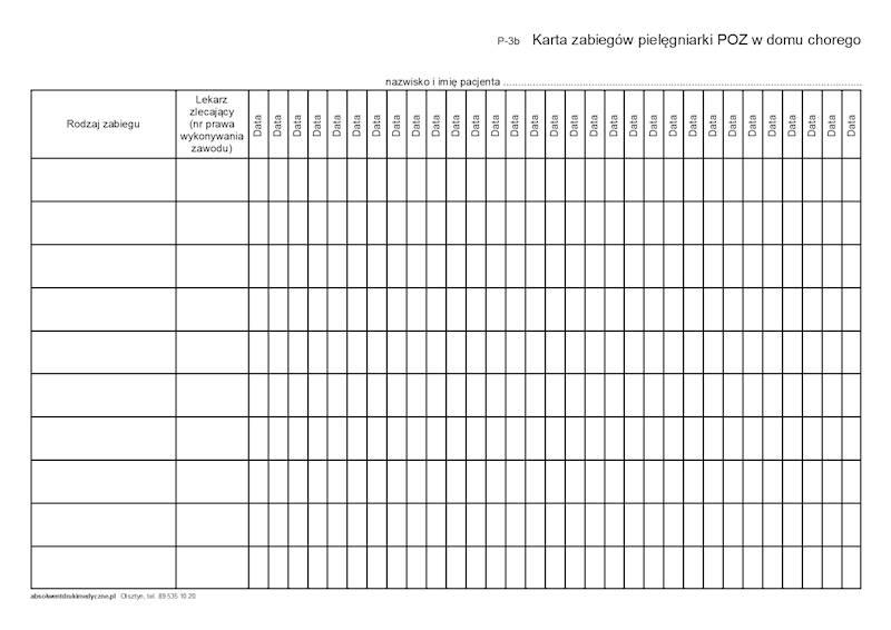 P-3b Karta zabiegów pielęgniarki POZ w domu chorego A4b/bl.100k