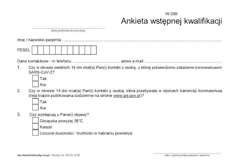 W-299 Ankieta wstępnej kwalifikacji (COVID-19) A5a/bl.100k