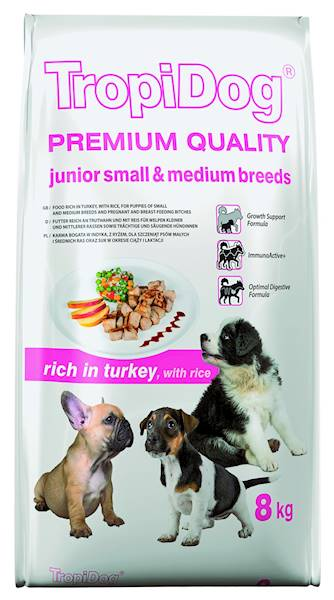 TROPIDOG PREMIUM junior small&med turkey&rice 8kg