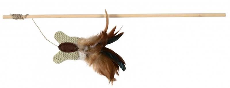 ZB.TX WĘDKA DLA KOTA motyl z piórkami 45cm