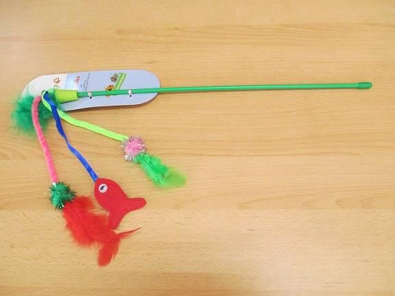 ZB.YARRO WĘDKA DLA KOTA  zielona z piórkami i rybą