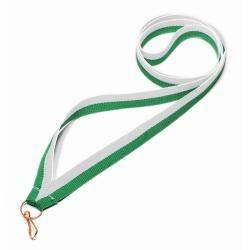 Wstążka tasiemka szarfa 1 cm biało-zielona