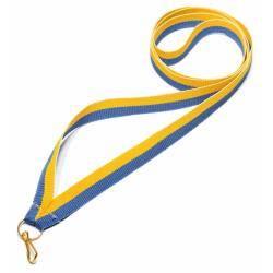 Wstążka tasiemka szarfa 1 cm żółto-niebieska