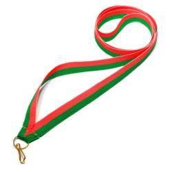Wstążka tasiemka szarfa 1 cm zielono-czerwona