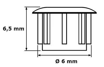 Zaślepka Ø 6 mm, ciemny brąz, 100 szt.