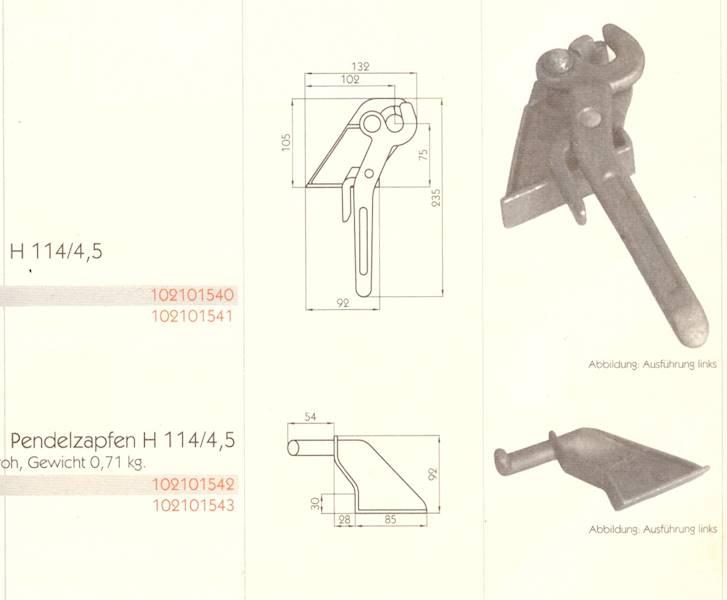 ZACZEP , SWORZE  PRAWY  ZAMKA   H 114/4.5