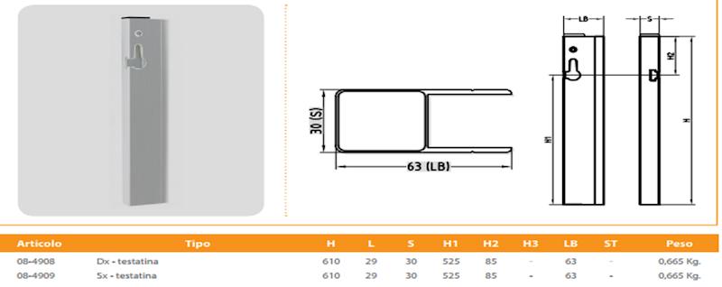 ZAKOŃCZENIE ZAMKNIĘCIE BB4 H=600mm LEWE H