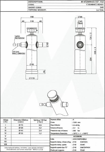 SIŁOWNIK HYDRAULICZNY DO WYWROTKI  3,5t L 1200