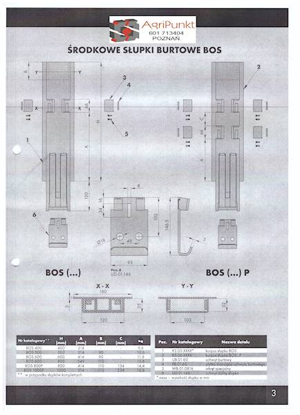 SŁUBEK ŚRODKOWY WYPINANY H800/25 PODWÓJNY RYGIEL