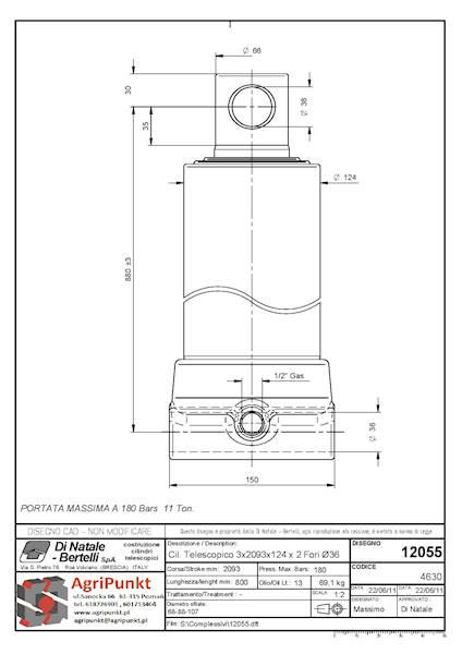 SIŁOWNIK TELESKOP. 3- SEKC.  WYSUW- 2093mm ,( dwa otwory) -11 Ton