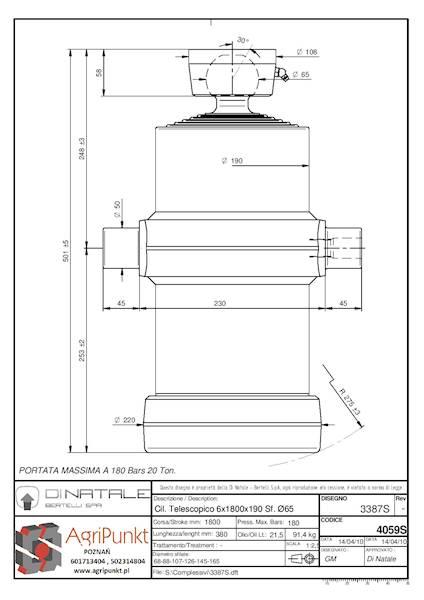 SIŁOWNIK DO WYWROTKI 16-20 Ton , S=6  C=1750  L=501
