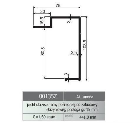 PROFIL OBRZEŻA ALU ANODA 103,5/75 /15,5,5   L=7000 ( pod sklekjke 15mm )
