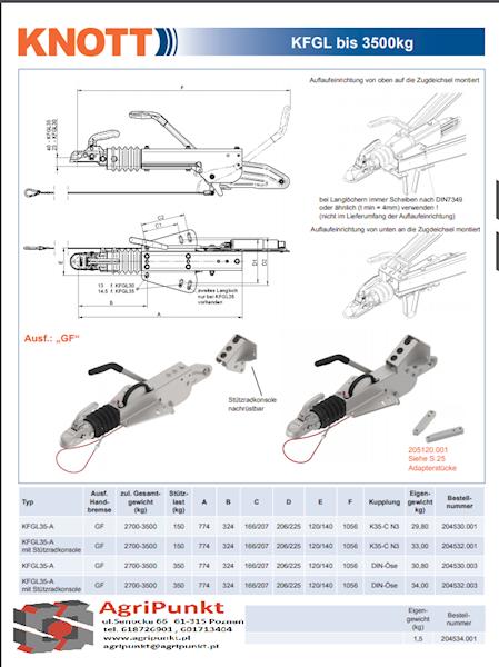 URZĄDZENIE NAJAZDOWE  typ V DO PRZYCZEPY DMC 2700- 3500