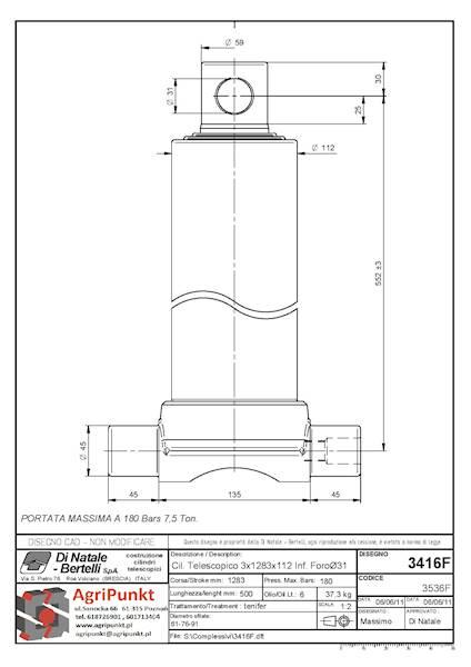 SIŁOWNIK ( trzpienie dolne) SKOK 1283 , 3 SEKCJE  7,5 Ton