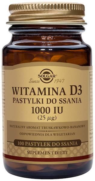 Solgar WITAMINA D3 pastylki do ssania25ug(1000 IU)