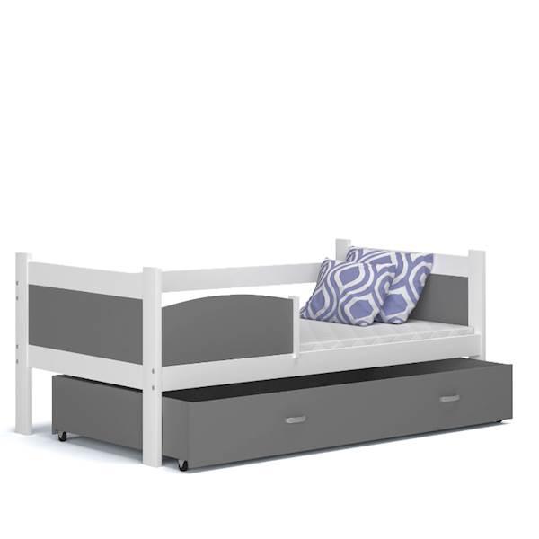 Łóżko parterowe - TWIST (biały + szary) z materacami 184x80 cm, z szufladą