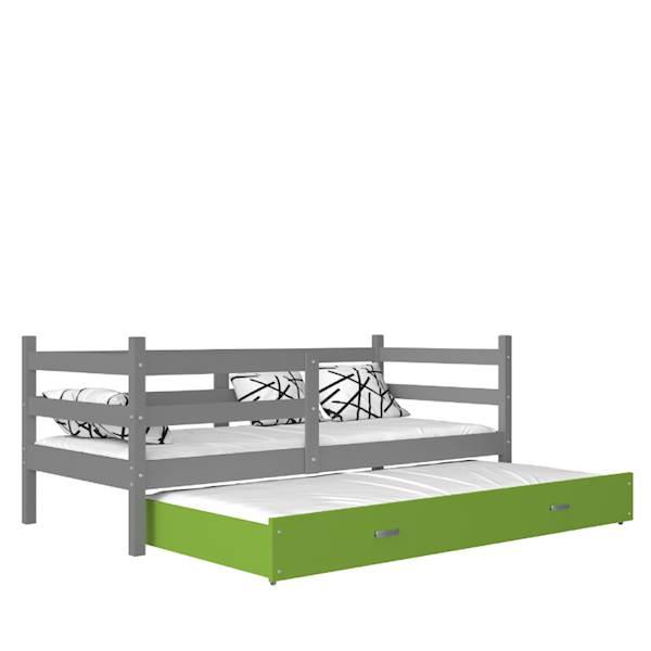 Jacek - Łóżko 2 poziomowe z materacem 190x80 cm, z szufladą (szary + zielony)