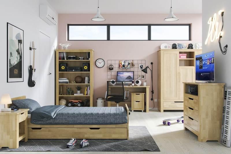 Betula - Zestaw meble młodzieżowe (łóżko 200x90 + szafa + komoda + regał + biurko + stolik nocny)