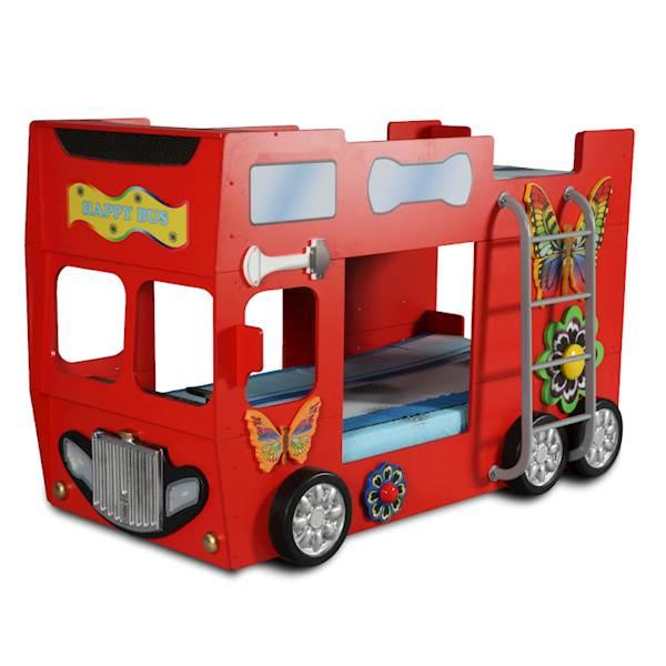 Łóżko piętrowe dziecięce z materacami 190x90 cm - Happy Bus Autobus - czerwony