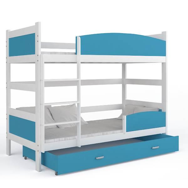 Łóżko piętrowe 2 osobowe - TWIST (biały + niebieski) z materacami 184x80 cm, z szufladą