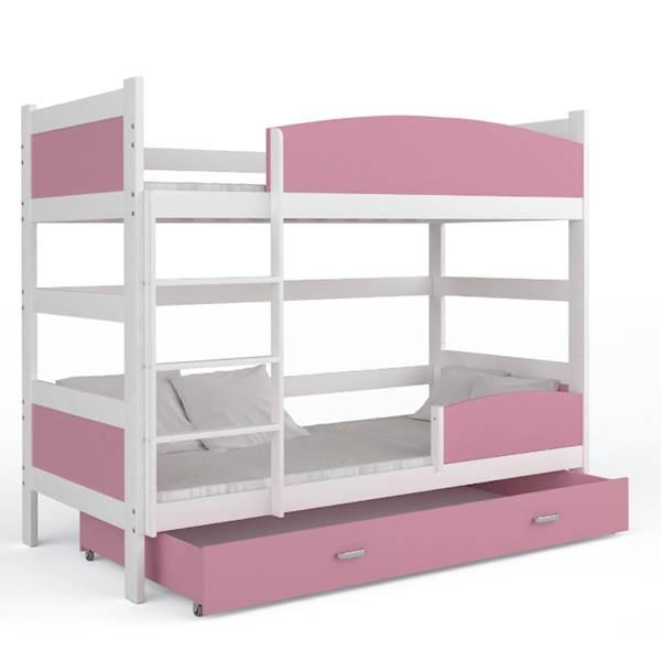 Łóżko piętrowe 2 osobowe - TWIST (biały + różowy) z materacami 184x80 cm, z szufladą