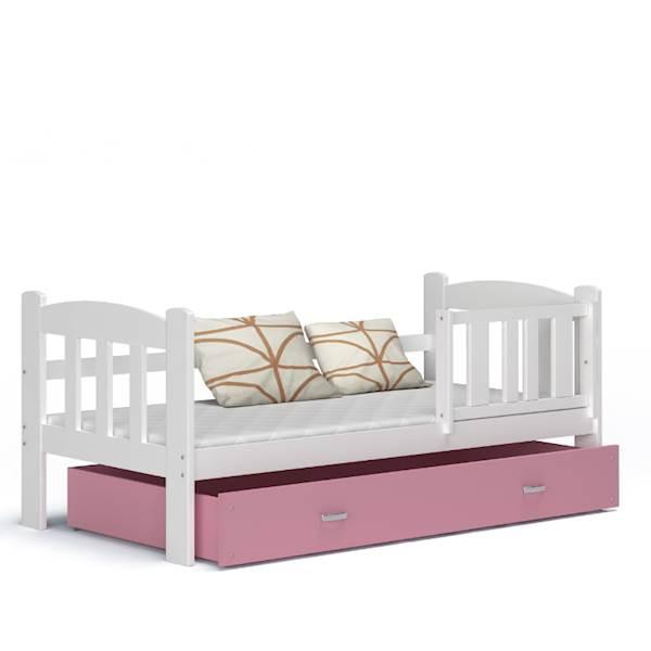 Tedi - Łóżko parterowe z materacem 160x70 cm, z szufladą (biały + różowy)