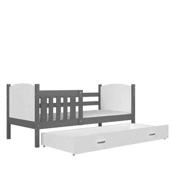 Tami - Łóżko parterowe z materacem 190x80 cm, z szufladą (szary + biały)