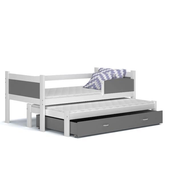 Łóżko 2 poziomowe - TWIST (biały + szary) z materacami 184x80 cm, z szufladą