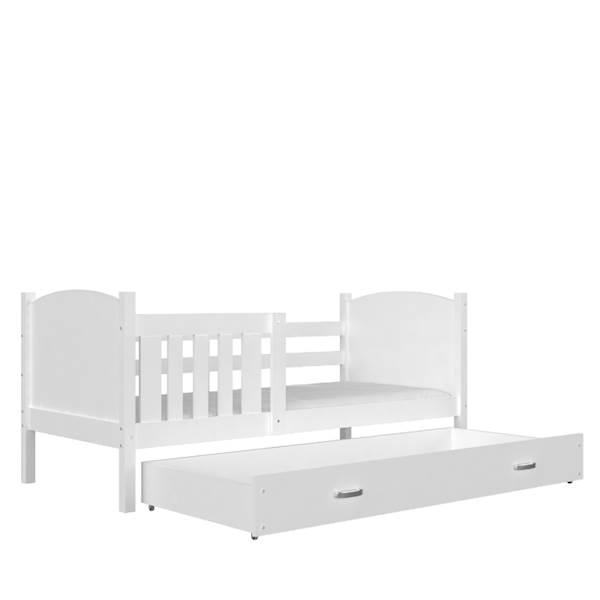 Tami - Łóżko parterowe z materacem 190x80 cm, z szufladą (białe)