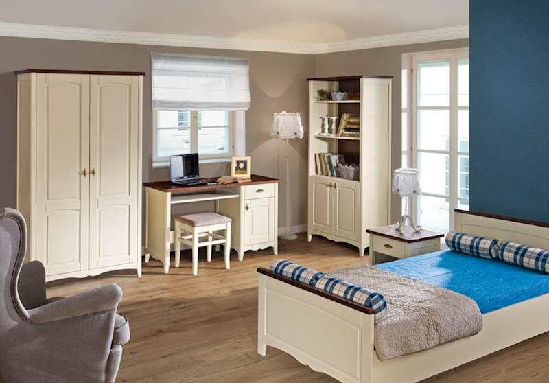 Prowansja - Zestaw meble młodzieżowe (biurko + szafa + łóżko + regał + stolik nocny + taboret) - kremowy