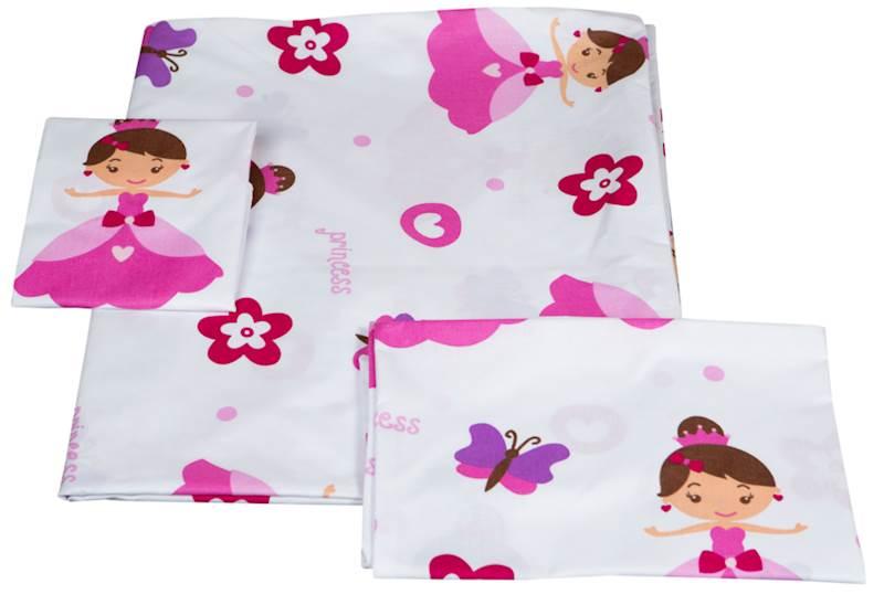 Pościel dziecięca zestaw na łóżko 160x80, 3-elemenowy - Księżniczki