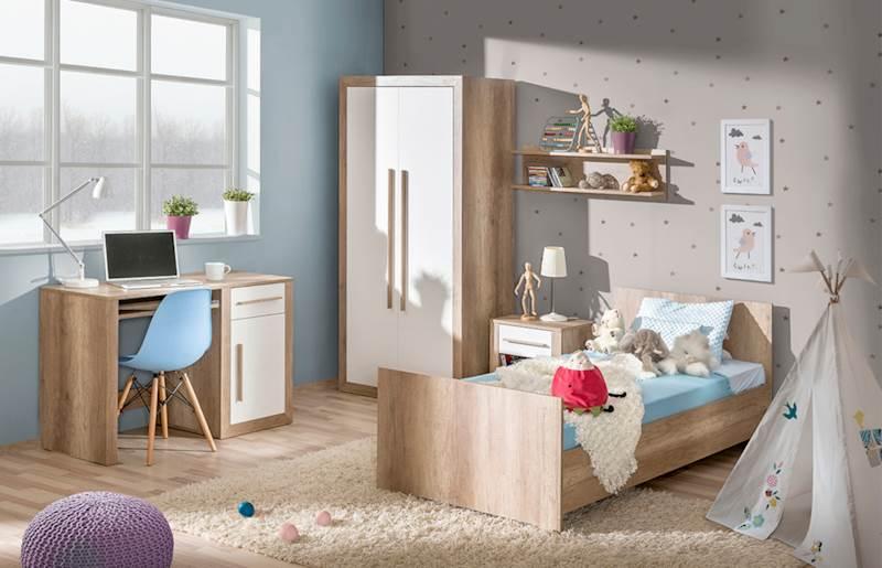 Terra 2 - Zestaw meble młodzieżowe (Szafa + łóżko 200x90 + biurko + stolik nocny + półka)