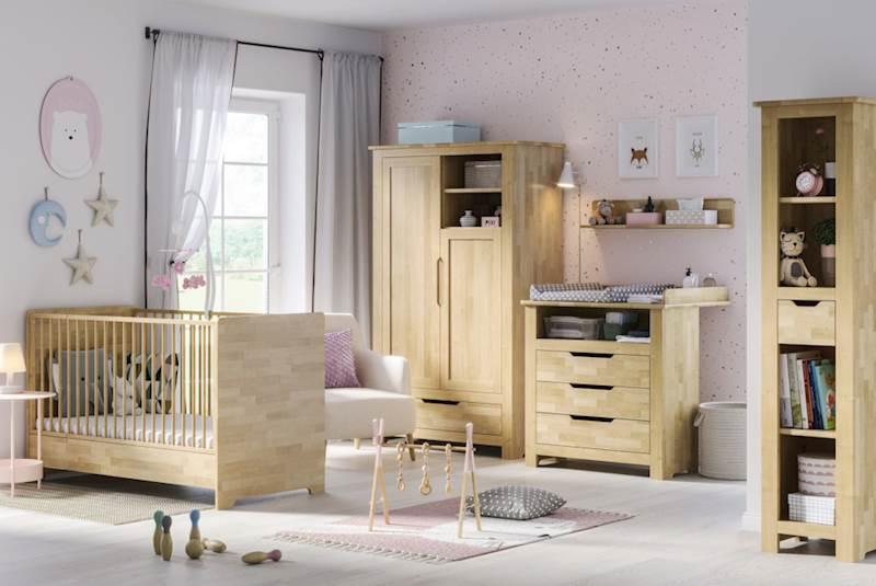 Betula - Zestaw meble niemowlęce (łóżeczko 140x70 + szafa + komoda + regał + półka)