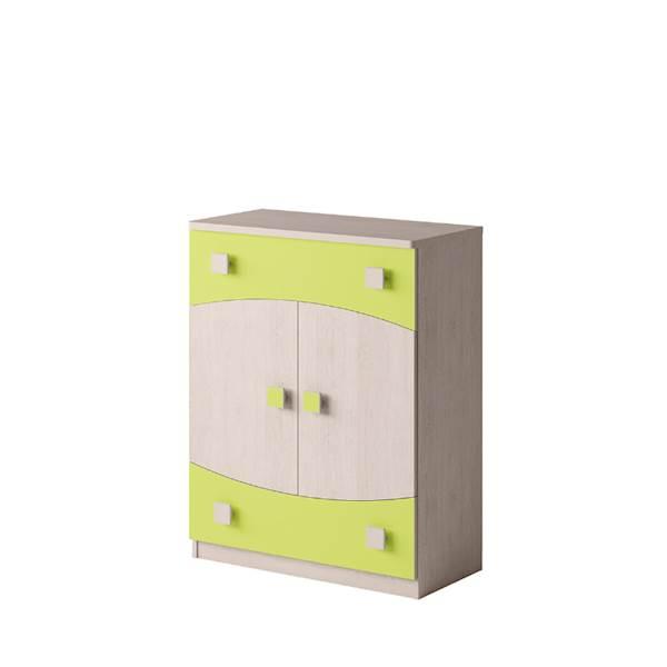 TENUS - Komoda 2-drzwiowa + 2 szuflady - Dąb santana + zielony