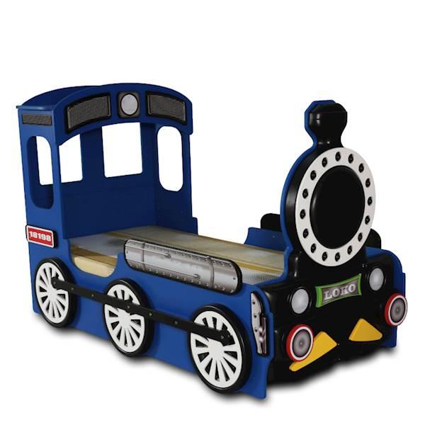 Łóżko dziecięce z materacem 190x90 cm - Pociąg, Lokomotywa - niebieski