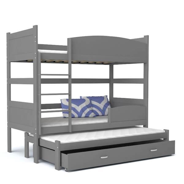 Łóżko piętrowe 3 osobowe - TWIST (szare) z materacami 184x80 cm, z szufladą