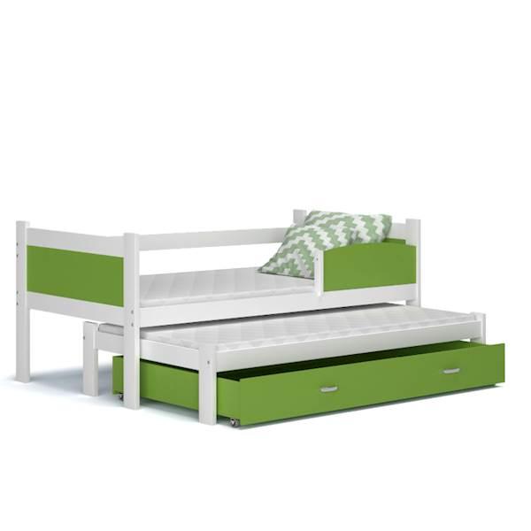 Łóżko 2 poziomowe - TWIST (biały + zielony) z materacami 184x80 cm, z szufladą