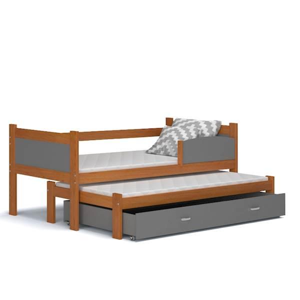 Łóżko 2 poziomowe - TWIST (olcha + szary) z materacami 184x80 cm, z szufladą