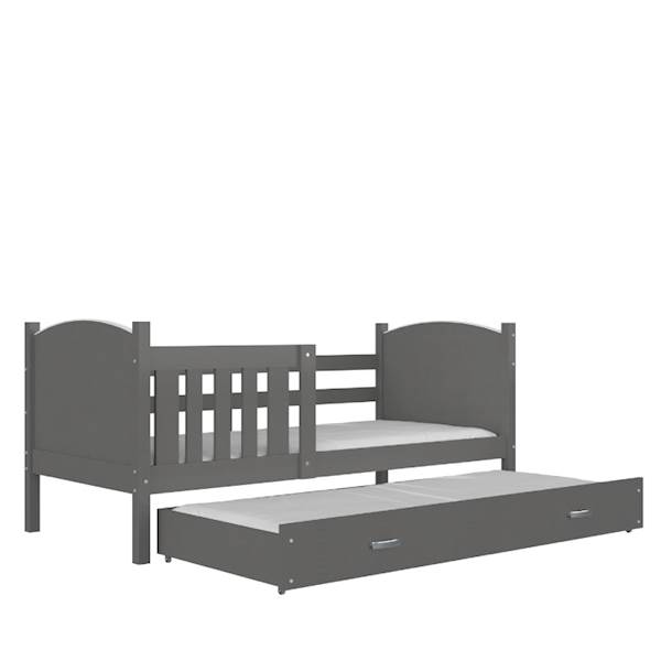 Tami - Łóżko 2 poziomowe z materacem 190x80 cm, z szufladą (szare)