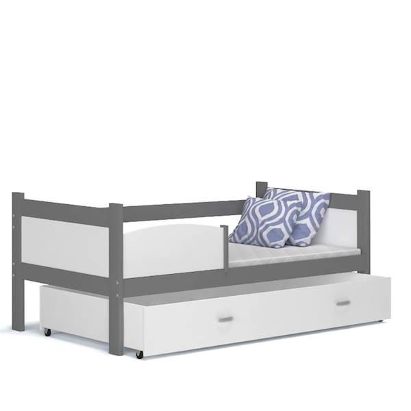 Łóżko parterowe - TWIST (szary + biały) z materacami 184x80 cm, z szufladą