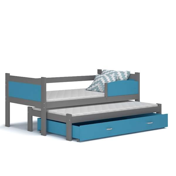 Łóżko 2 poziomowe - TWIST (szary + niebieski) z materacami 184x80 cm, z szufladą