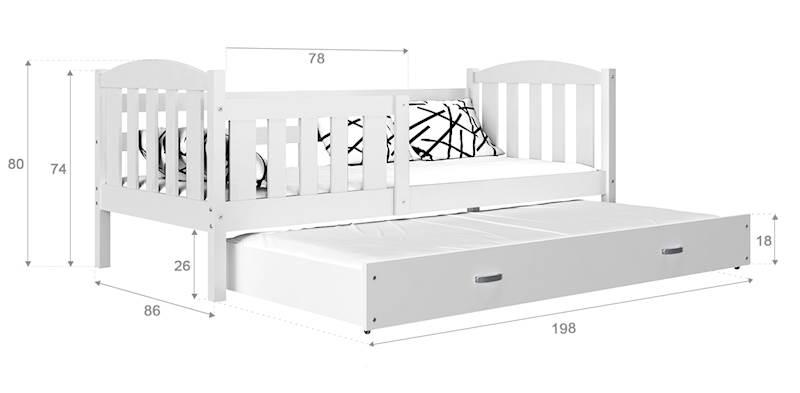 Kubuś - Łóżko 2 poziomowe z materacami 190x80 cm, z szufladą (różowe)