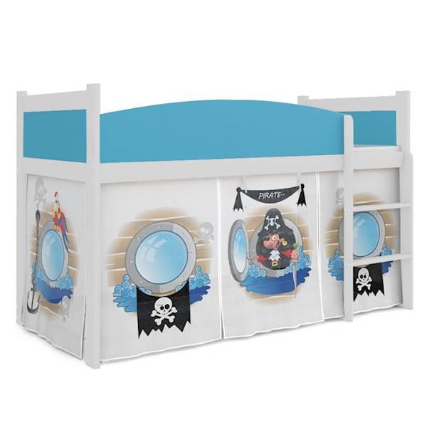 Łóżko Antresola z materacem 184x80 cm, wzór: Piraci (błękit, biel)