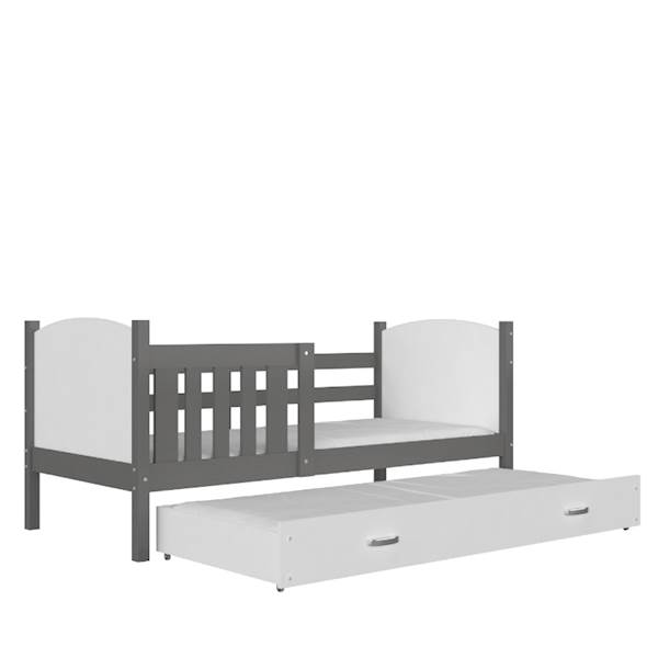 Tami - Łóżko 2 poziomowe z materacem 190x80 cm, z szufladą (szary + biały)